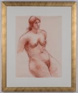 """<h5>""""Nude Woman"""" by R. Nicholas [?] (N/D)</h5><p>Approx. 18""""x24""""; Pastel on paper BMAS N/N</p>"""