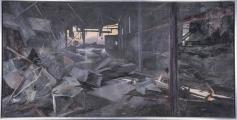 "<h5>""Destruction"" by Tim Gaydos (N/D)</h5><p>Approx. 44""x91""; Oil on canvas BMAS 1182</p>"